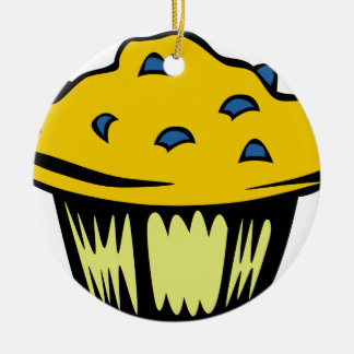 Blueberry Muffin Cartoon Ceramic Ornament