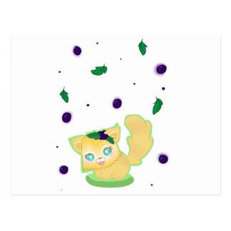Blueberry Muffin Kitty Postcard