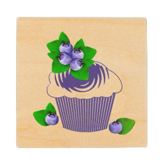 Blueberry Muffin Purple Wood Coaster