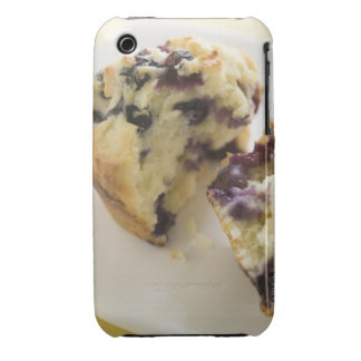 Blueberry muffin split open on a white plate iPhone 3 covers