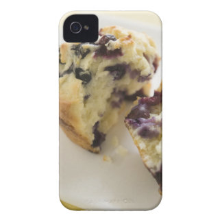Blueberry muffin split open on a white plate iPhone 4 cover