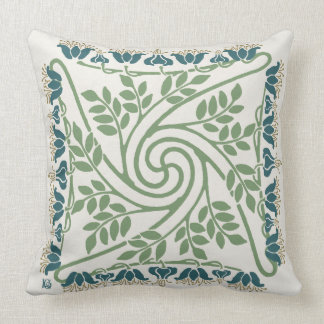 Blueberry Nouveau Art Deco Throw Pillow