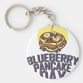 Blueberry Pancake Day - Appreciation Day Basic Round Button Key Ring
