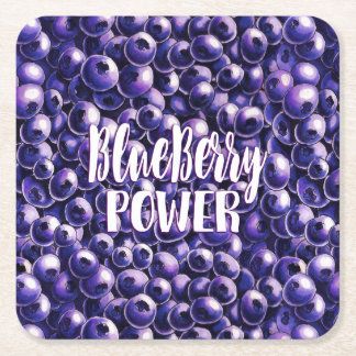 Blueberry power Fresh berry illustration Square Paper Coaster