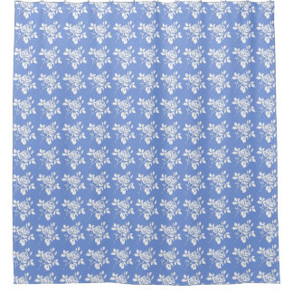 Blueberry-Roses-White-Traditional Fabric Decor Shower Curtain