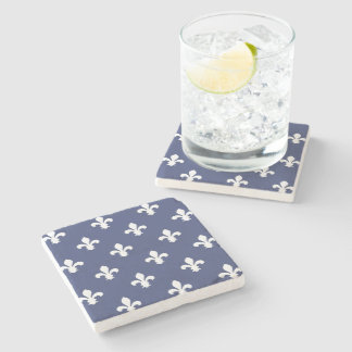 Blueberry Southern Cottage Fleur de Lys Stone Coaster
