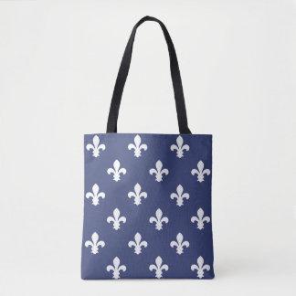 Blueberry Southern Cottage Fleur de Lys Tote Bag