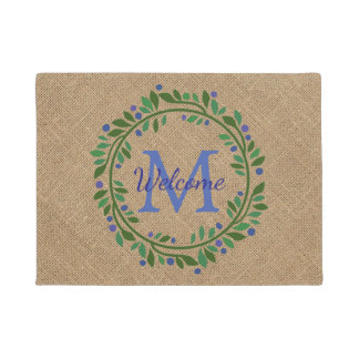 Blueberry Wreath and Burlap Monogram Doormat