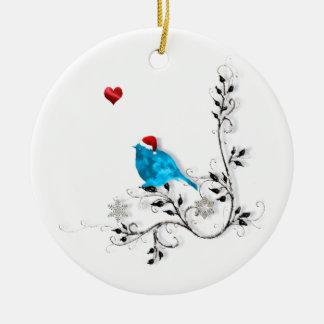 Bluebird and Heart! Round Ceramic Decoration