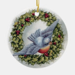 Bluebird and Holly Wreath Vintage Christmas Round Ceramic Decoration