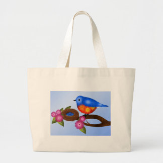 Bluebird and Nest with Eggs Jumbo Tote Bag