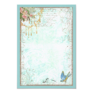 Bluebird and Pink Roses RSVP or Table Card 9 Cm X 13 Cm Invitation Card