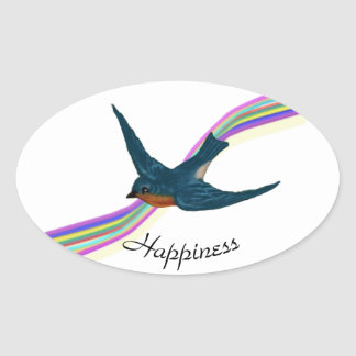 Bluebird and Rainbow, Happiness Oval Sticker