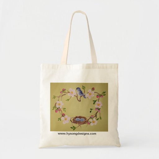 Bluebird & Apple Blossoms Canvas Bags