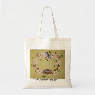 Bluebird & Apple Blossoms Budget Tote Bag