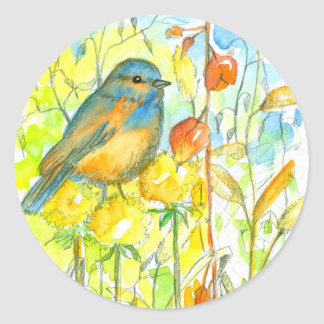 Bluebird Autumn Plants Classic Round Sticker