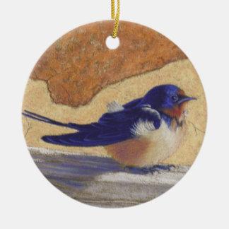 Bluebird, Barn Swallow Ceramic Ornament