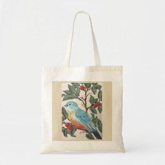 Bluebird Bird Berries Leaves Teal Blue Tote Bag