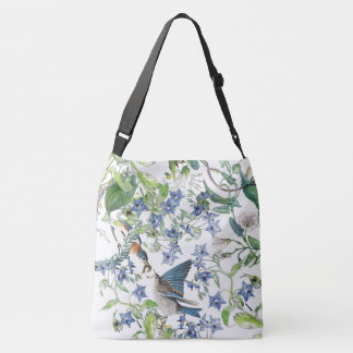 Bluebird Bird Morning Glory Borage Floral Tote Bag