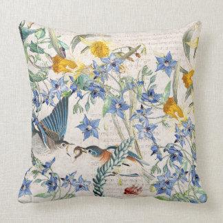 Bluebird Bird Narcissus Borage Floral Throw Pillow