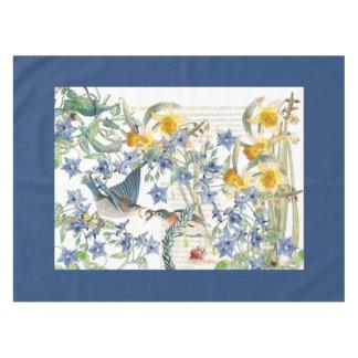 Bluebird Bird Narcissus Borage Flowers Tablecloth