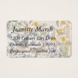 Bluebird Bird Narcissus Flowers Business Cards