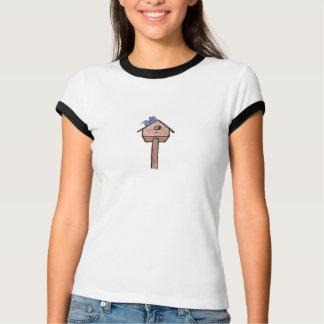 Bluebird Birdhouse...Ladies Ringer T-Shirt... Tee Shirt