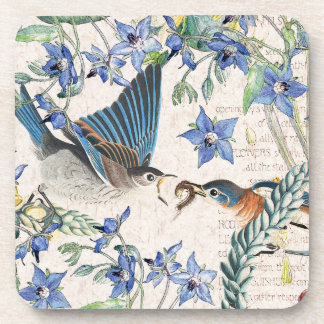 Bluebird Birds Animals Flowers Coaster