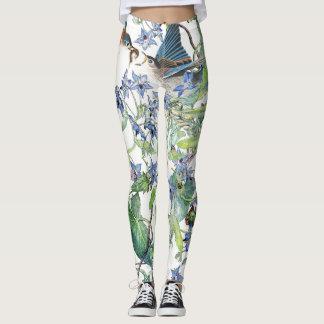 Bluebird Birds Floral All Over Print Leggings
