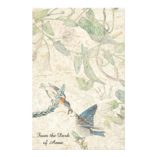 Bluebird Birds Morning Glory Flowers Stationery