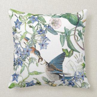 Bluebird Birds Morning Glory Flowers Throw Pillow