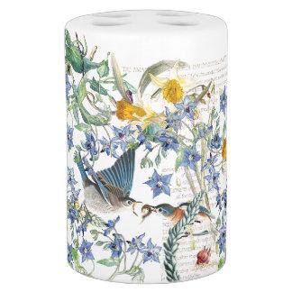 Bluebird Birds Narcissus Borage Flowers Bath Set