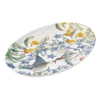 Bluebird Birds Narcissus Flowers Serving Platter