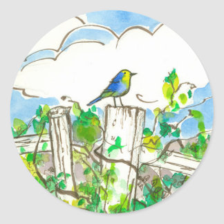 Bluebird Clouds Fence Classic Round Sticker