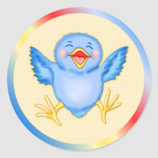 Bluebird Happiness Classic Round Sticker