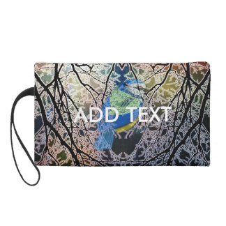 Bluebird in a Tree Wristlet Clutches