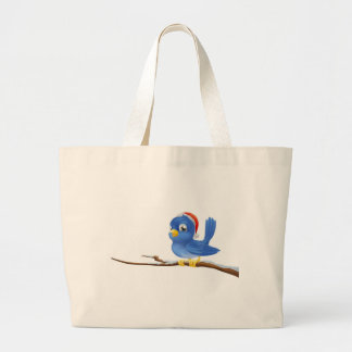 Bluebird in Christmas hat Canvas Bags