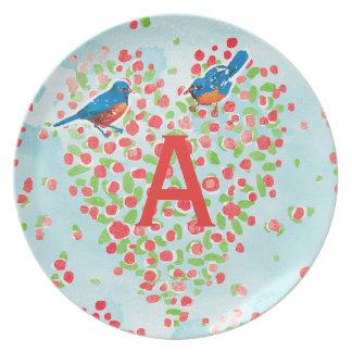 Bluebird Love Birds Floral Heart Monogram Plate