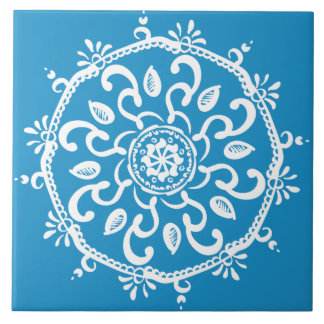 Bluebird Mandala Ceramic Tile
