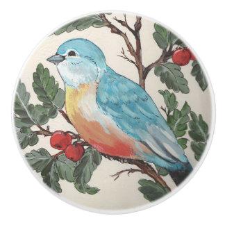 Bluebird of Happiness Cherries Drawer Door Cabinet Ceramic Knob