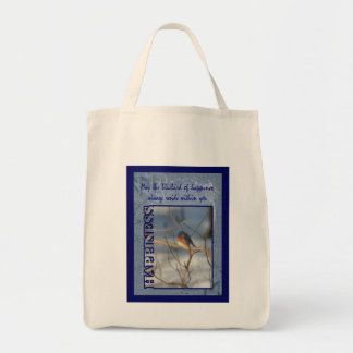 Bluebird Of Happiness Inspirational Grocery Tote Bag