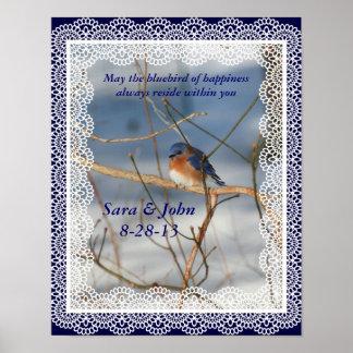 Bluebird Of Happiness Nature Wedding Poster