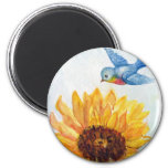 Bluebird of Happiness with Sunflower 6 Cm Round Magnet