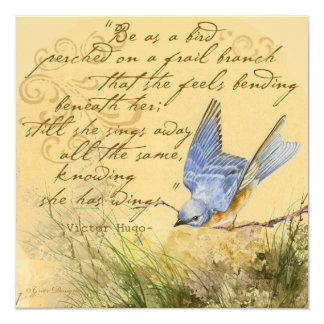 Bluebird on a Branch Hugo Quote 13 Cm X 13 Cm Square Invitation Card