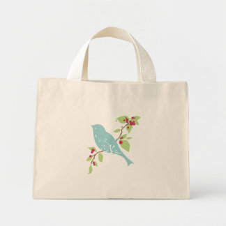 Bluebird on a branch tote mini tote bag