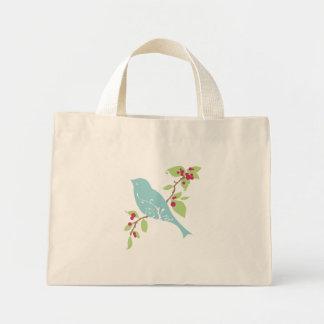 Bluebird on a branch tote mini tote bag