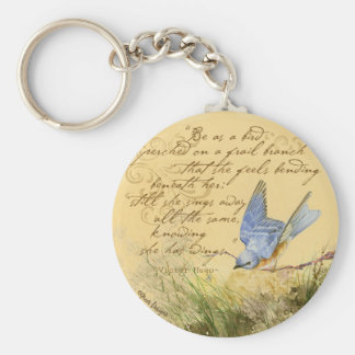 Bluebird on Branch & Victor Hugo Quote Basic Round Button Key Ring