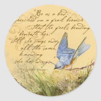 Bluebird on Branch & Victor Hugo Quote Classic Round Sticker