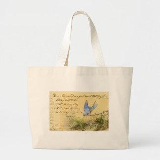 Bluebird on Branch & Victor Hugo Quote Jumbo Tote Bag