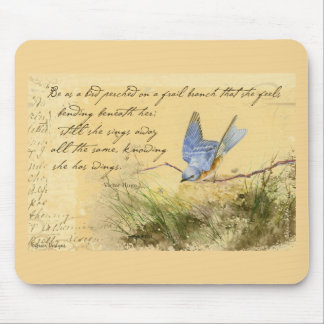 Bluebird on Branch & Victor Hugo Quote Mouse Pad